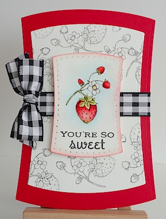 card featuring a strawberry with you're so sweet sentiment in red and black