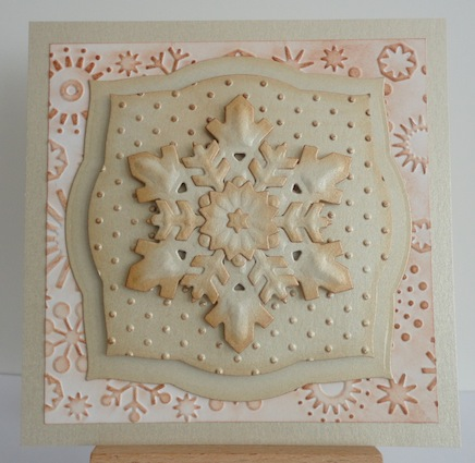 square christmas card in neutral with 3D snowflake in centre