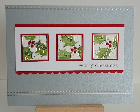 christmas card featuring holly stickers and merry christmas sentiment sticker