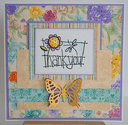 floral card with thank you sentiment and yellow die cut butterfly