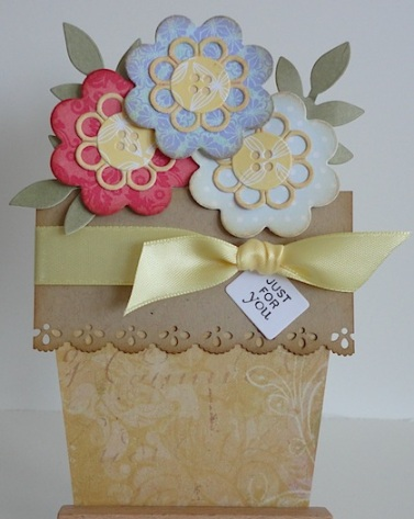 flower pot shaped card with three flowers and flourishes sentiment