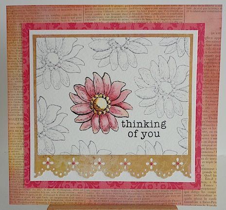 thinking of you card in pink and gold with one pink flower