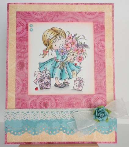 Card with Nellie Snellen Dawn With Flowers Stamp