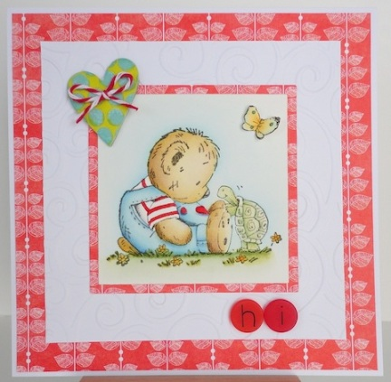 Card with Penny Black Eat Cake Teddy