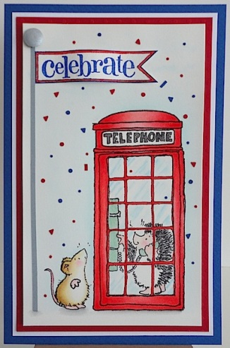 card with penny black london calling image and confetti in red, blue and white
