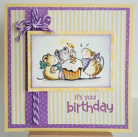 birthday card with penny black mice image and cupcake