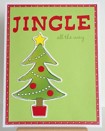recycled christmas card with tree and sentiment jingle all the way