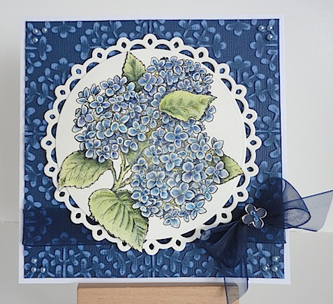 card with flourishes hydrangea stamp in blue