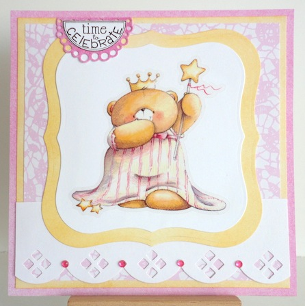 card with forever friends teddy queen sticker in pinks and yellows