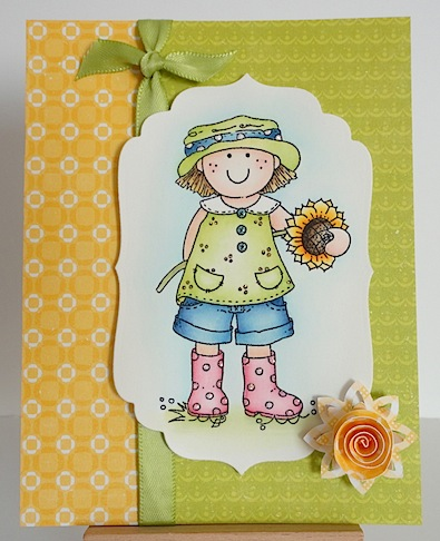 card in greens and yellows with molly blooms image and rolled flower