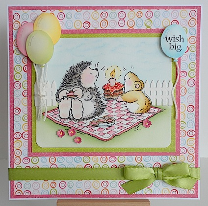 birthday card with penny black hedgie and mouse