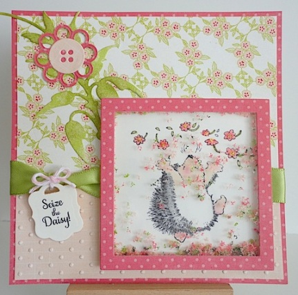 shaker card in pink and green with penny black hedgie and flower soft