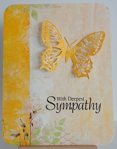 sympathy card in yellow and orange with butterfly