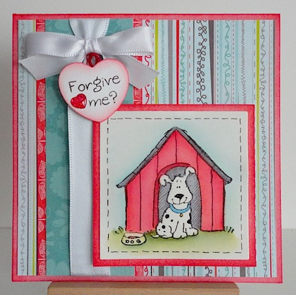 card with penny black dog house image and inky antics sentiment