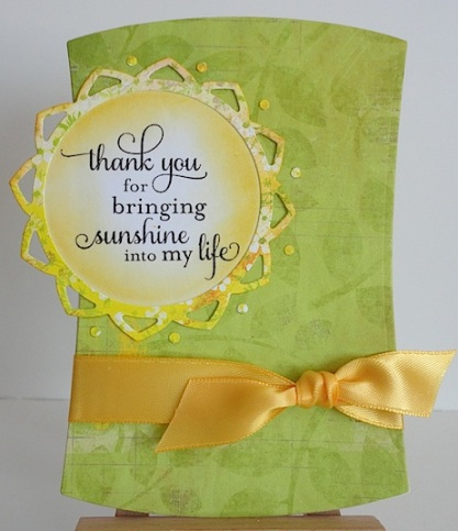 Card in green and yellow with flourishes sentiment and yellow bow