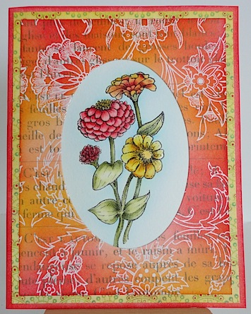 card with zinnias in red, orange and yellow with matching coloured papers