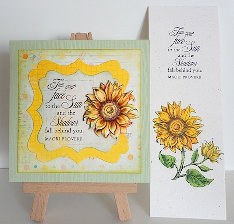 post it note holder and bookmark with flourishes sunflower in yellow