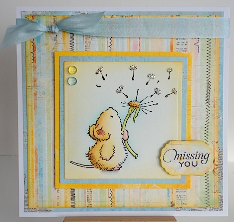 card in loving memory of my son with penny black mouse and dandelion
