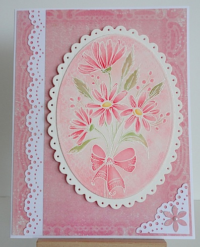 magenta pink card with pink daisies and white trim
