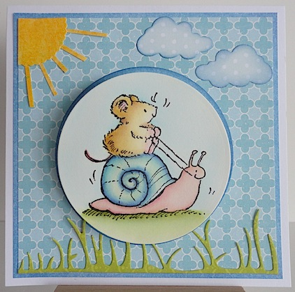 card with mouse on snail and blue background, sun, clouds and grass