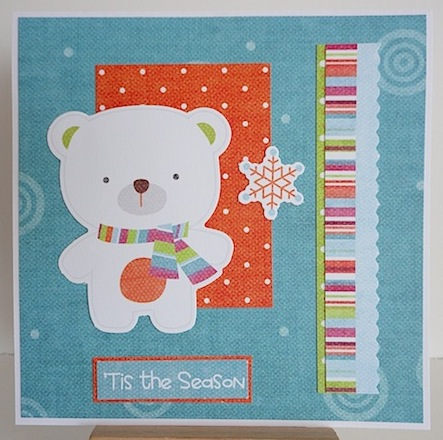 christmas card with polar bear and tropical colours