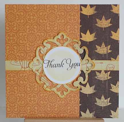 thank you card in fall colours with maple leaf pattern