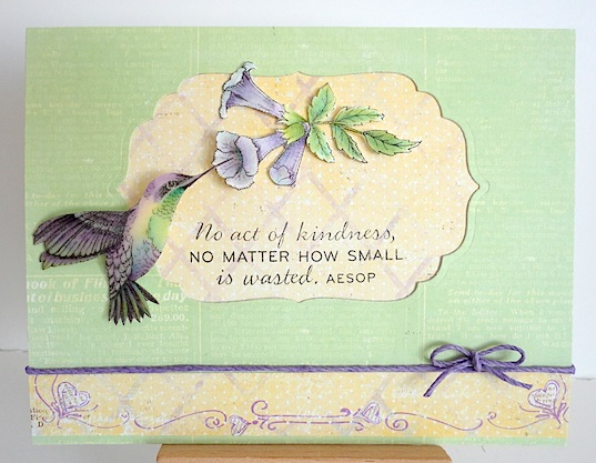 card with Flourishes hummingbird in purple and green with purple trumpet vine flower