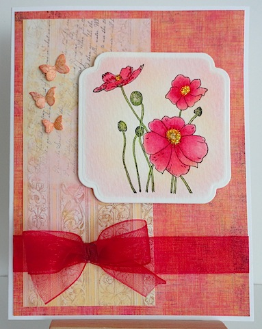 card with penny black poppies