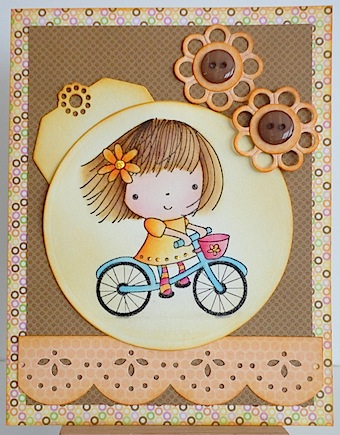 card in brown and orange with girl in orange dress rding a blue bicycle
