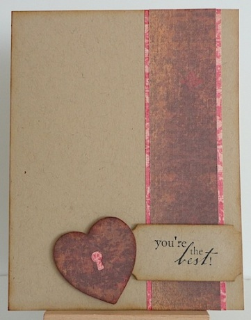 card with kraft base, heart and you're the best sentiment