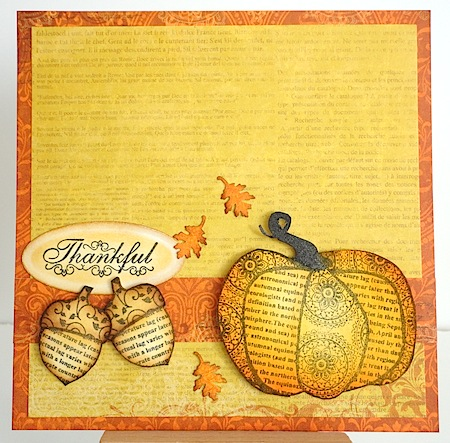 card with pumpkin, acorns, oak leaves and thankful sentiment