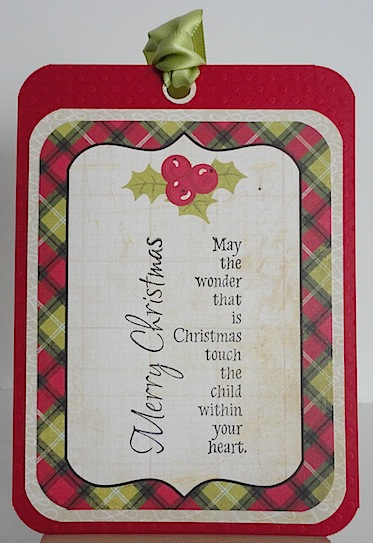 very easy christmas tag in green and red with merry christmas sentiment