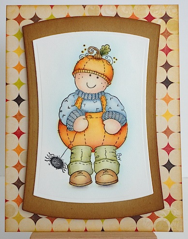 card with george dressed up in pumpkin outfit with a spider