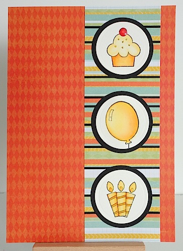 card with three circles on orange base with cupcake, balloon and candles