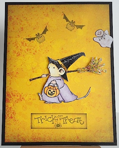 card with mouse witch, two bats, one ghost and trick or treat sentiment