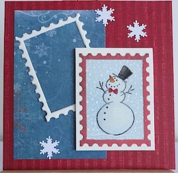 three inch christmas card in red and blue with snowman and snowflakes