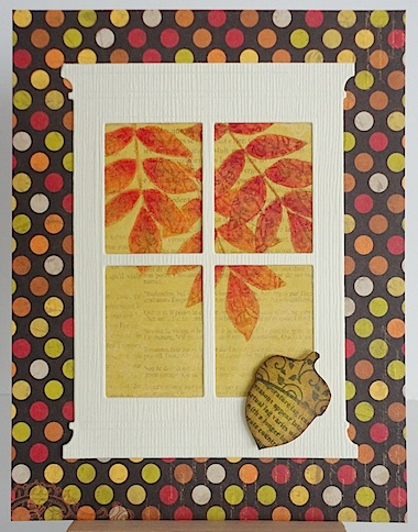 autumn card with window and fall leaves in the background with polka dot base in fall colours