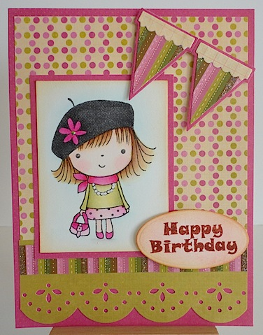 pink and green birthday card with penny black mimi image