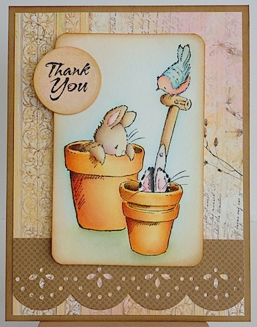 card with two bunnies in clay pots and a bird on the handle of a shovel with a thank you sentiment