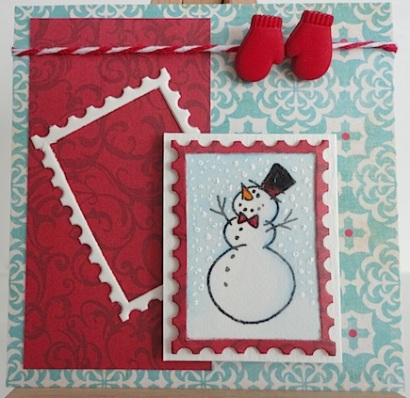 winter snowman card with positive and negative stamp, twine and two red mitten buttons
