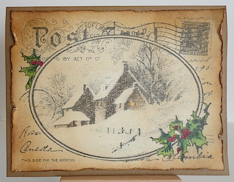 christmas card with post card sentiment and wintery farmhouse scene in sepia