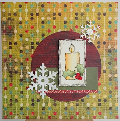christmas card with magenta candle stamp in reds and greens