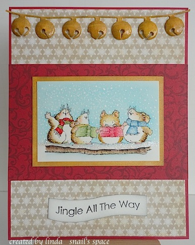 penny black caroling mice christmas card with jingle all the way sentiment and gold jingle belles