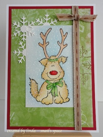 christmas card with penny black rudolph pup