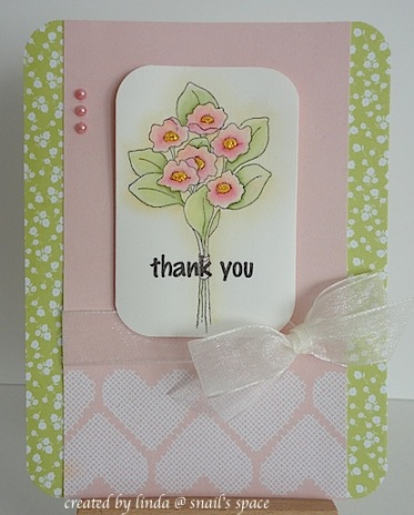 floral thank you card in pink, green and ivory