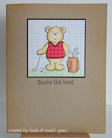 card with teddy bear in golf clothes with golf equipment and a you're the best sentiment