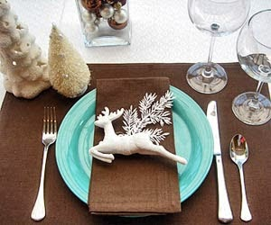 better homes chocolate and turquoise placesetting