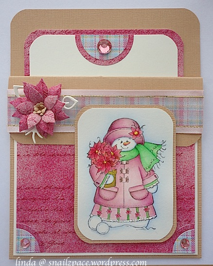 mama snowwoman pocket card in pink and brown