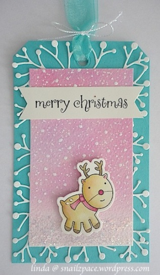 christmas tag with turquoise, pink and rudolph the pink nosed reindeer