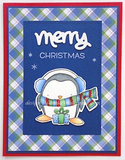 penguin christmas card in blue